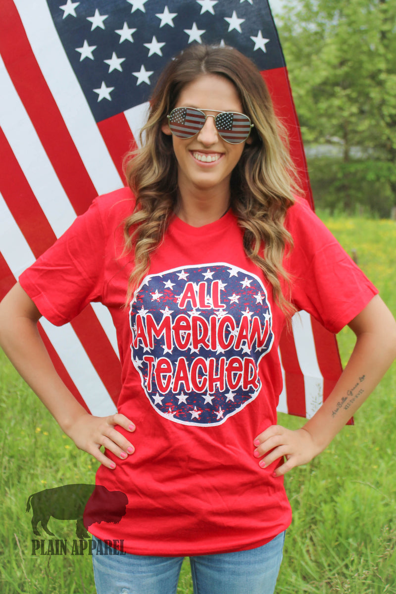 All American Teacher Crew Tee - Bless UR Heart Boutique
