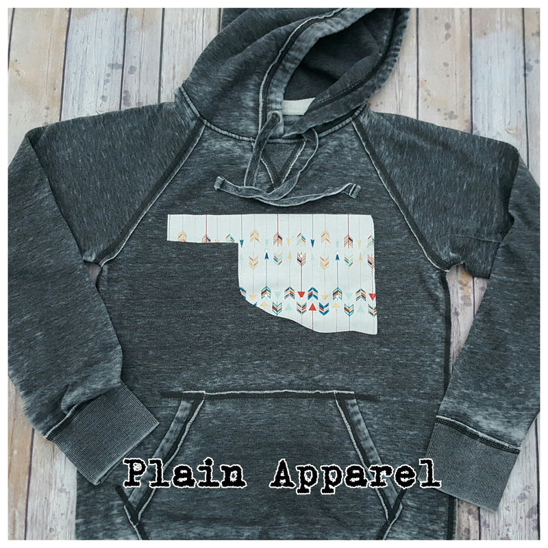 Oklahoma Arrow Hoodie Sweatshirt - Bless UR Heart Boutique