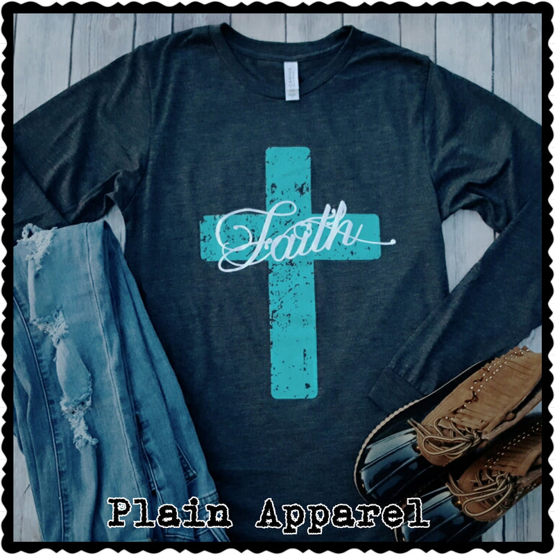 Faith Turquoise Cross LONG SLEEVE Crew - Bless UR Heart Boutique