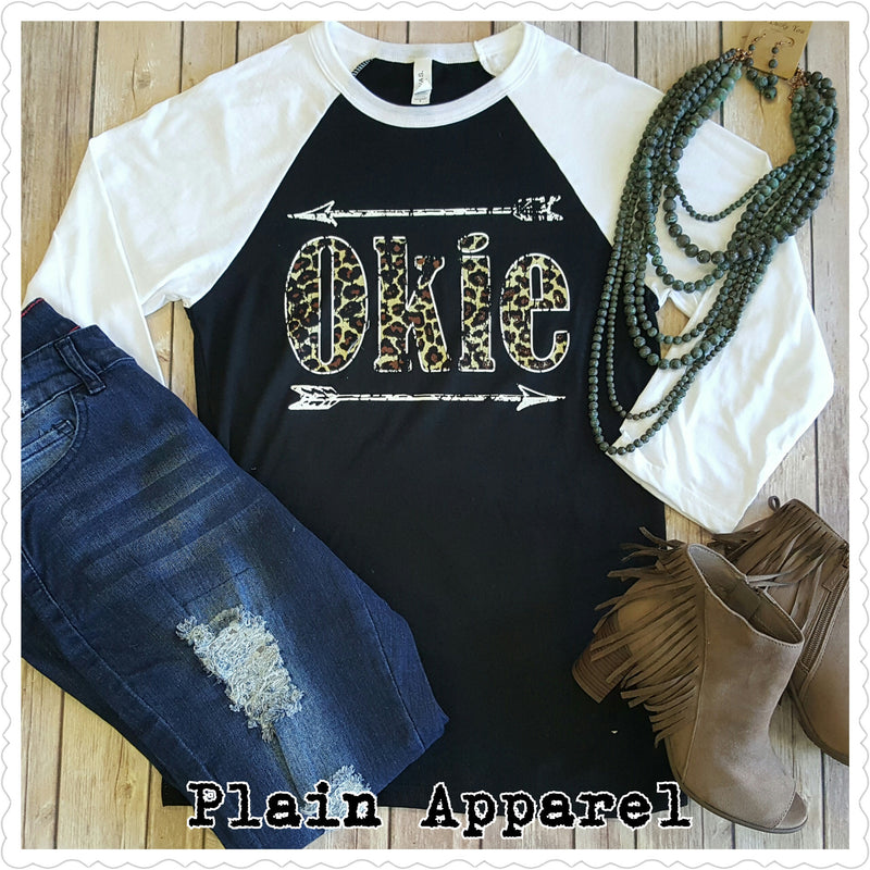 Leopard Okie Arrow Raglan - Bless UR Heart Boutique