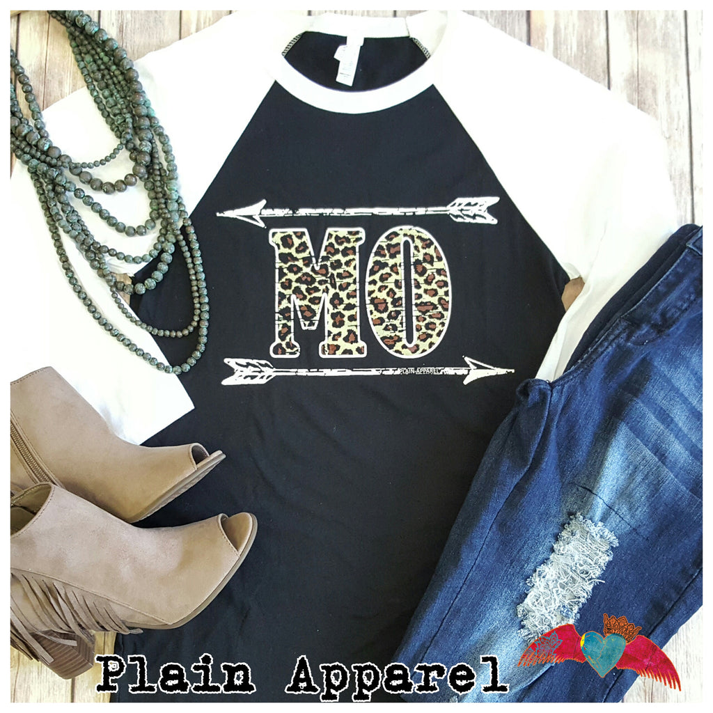 Missouri MO Leopard Raglan - Bless UR Heart Boutique