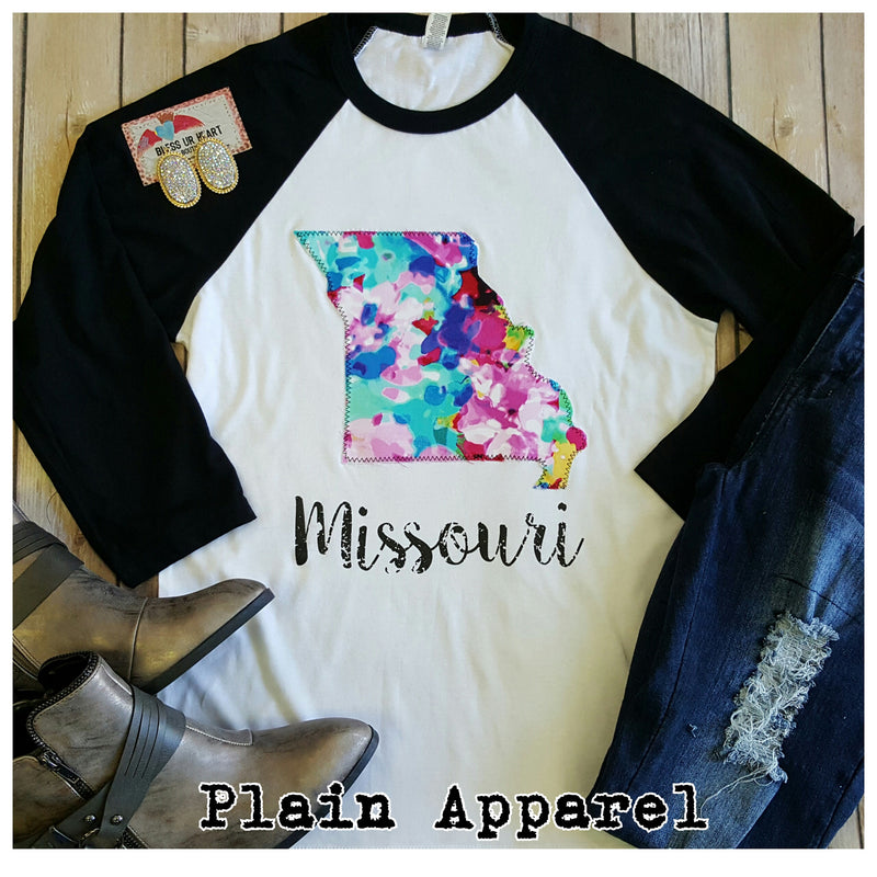 Missouri Watercolor Raglan - Bless UR Heart Boutique