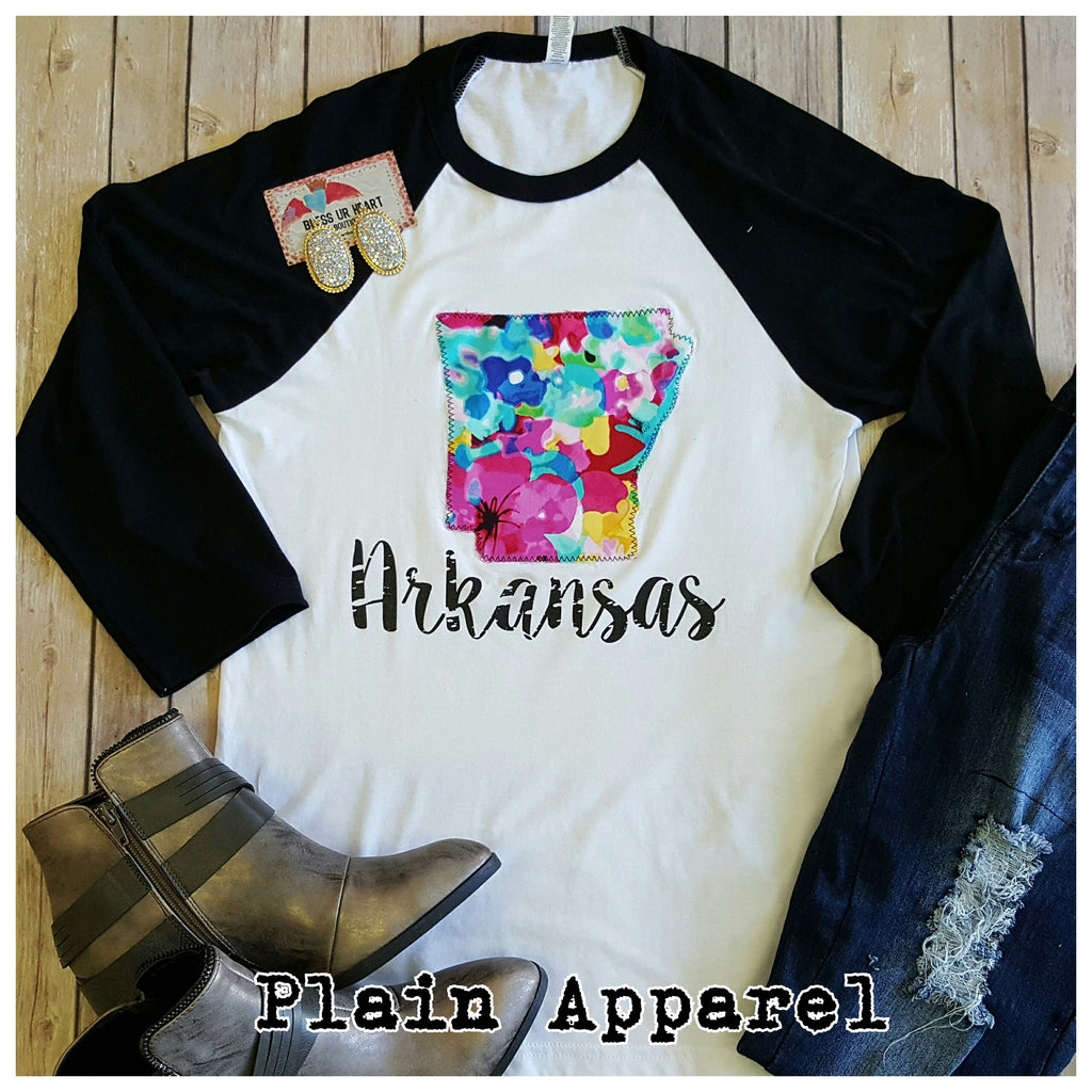Arkansas Watercolor Raglan - Bless UR Heart Boutique