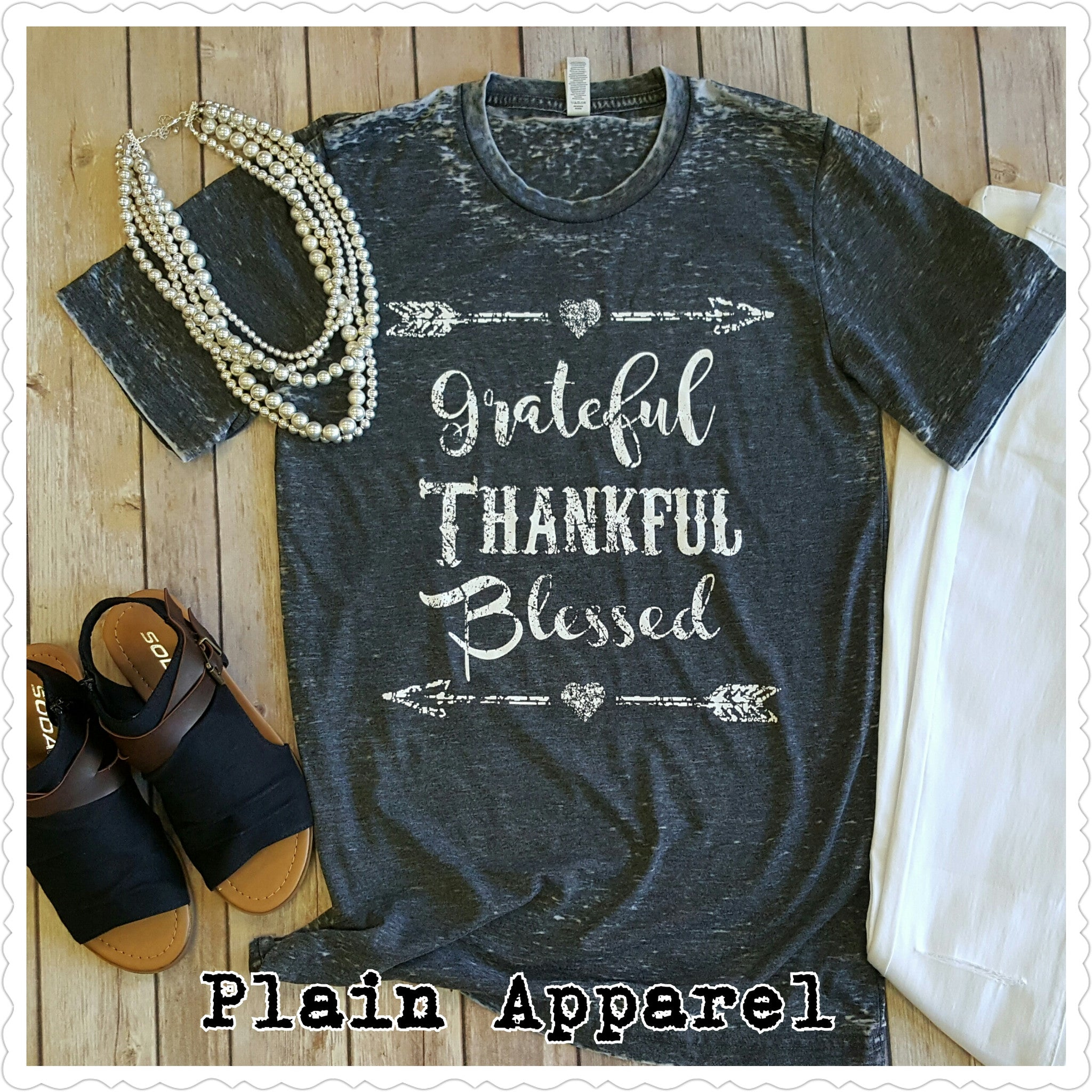 Grateful Thankful Blessed  Acid Wash Top