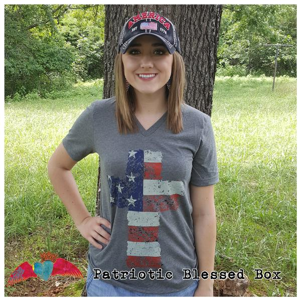 Flag Cross Gray V-Neck - Bless UR Heart Boutique