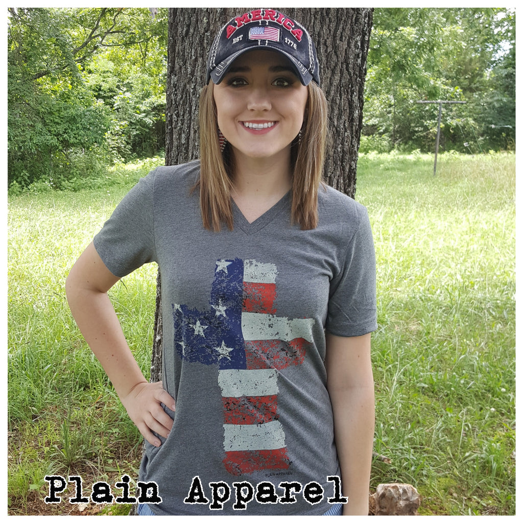 Patriotic Cross Gray V-Neck