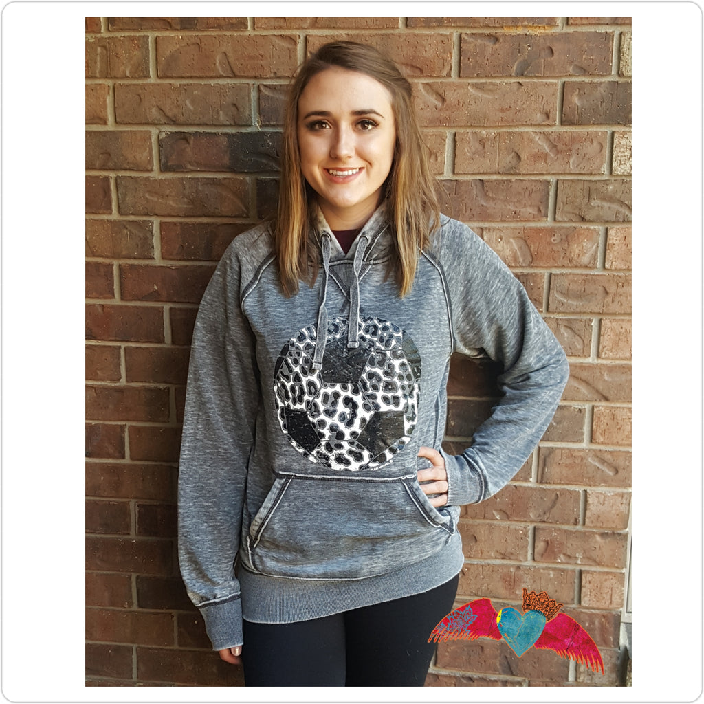 Soccer Snow Leopard Hoodie - Bless UR Heart Boutique