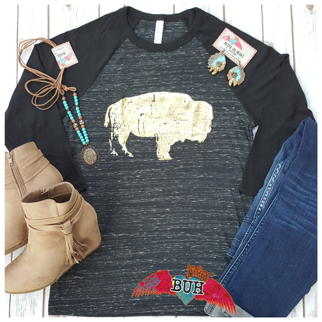 Gold Buffalo RAGLAN - Bless UR Heart Boutique