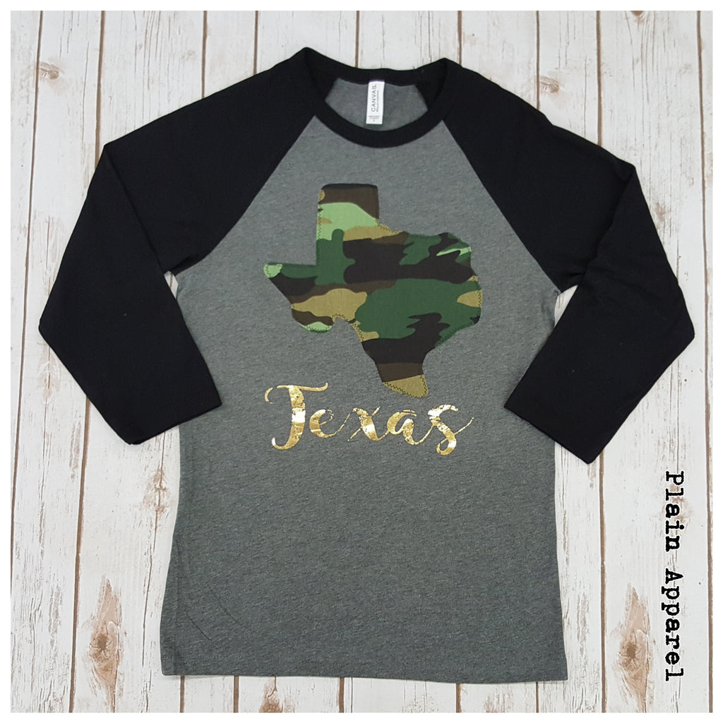 Camo Texas Raglan - Bless UR Heart Boutique