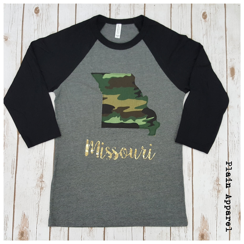 Camo Missouri Raglan - Bless UR Heart Boutique