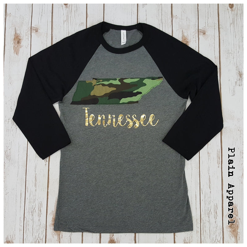 Camo Tennessee Raglan - Bless UR Heart Boutique