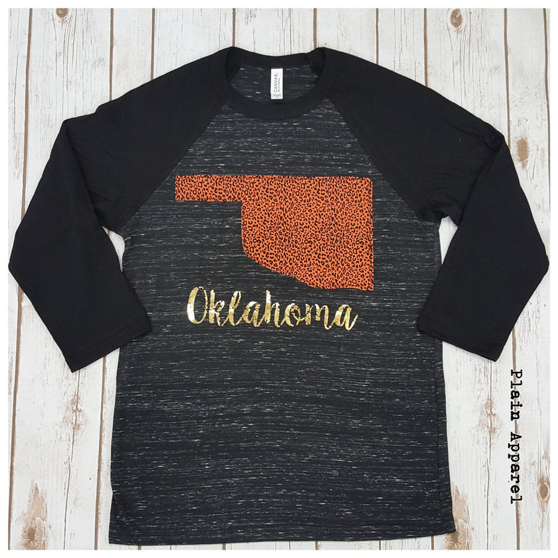 Orange Leopard Oklahoma Raglan