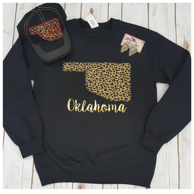 Leopard Oklahoma Sweatshirt - Bless UR Heart Boutique
