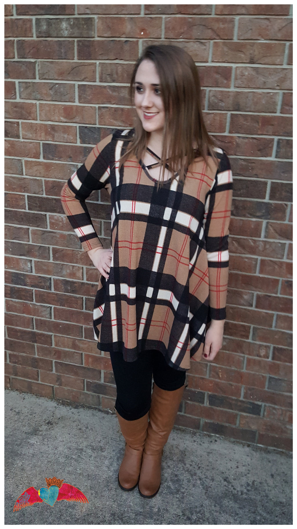 Tan Plaid Strappy Tunic