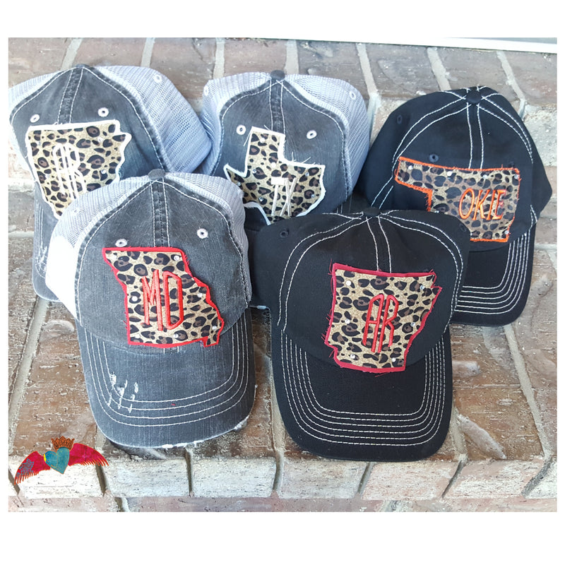 Leopard State Ball Caps - Bless UR Heart Boutique