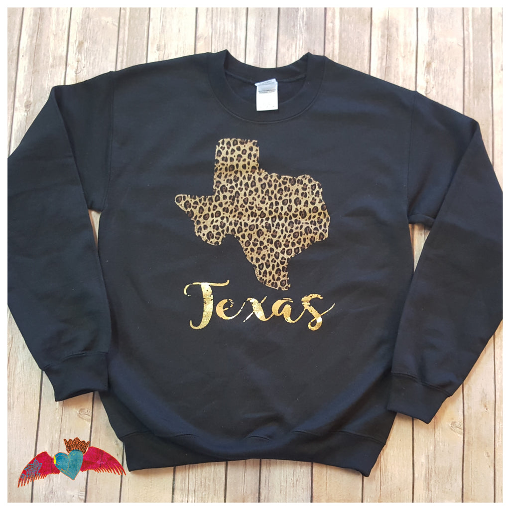 Leopard Texas Sweatshirt - Bless UR Heart Boutique