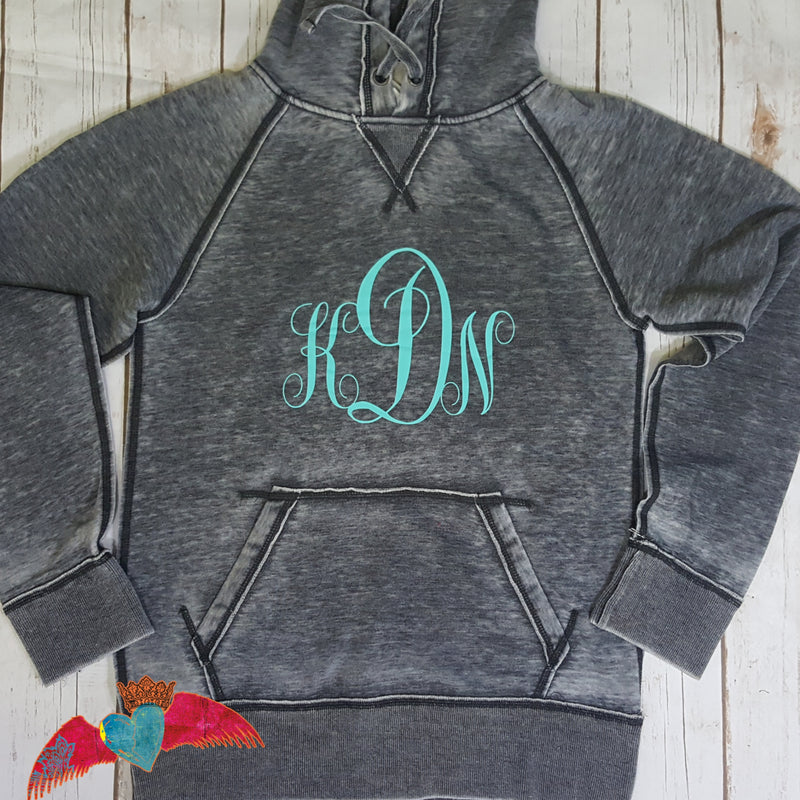 Monogram Vintage Hoodie - Bless UR Heart Boutique