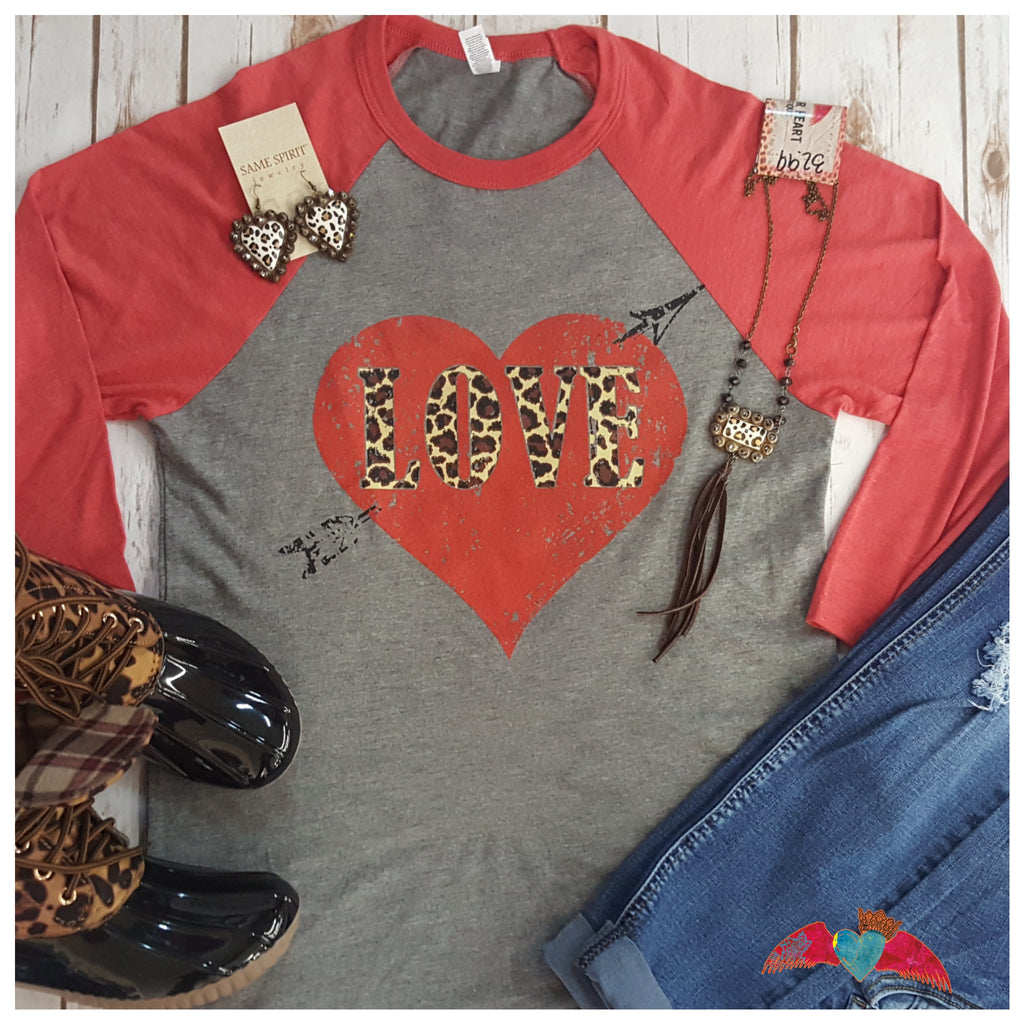 Leopard LOVE Heart Raglan