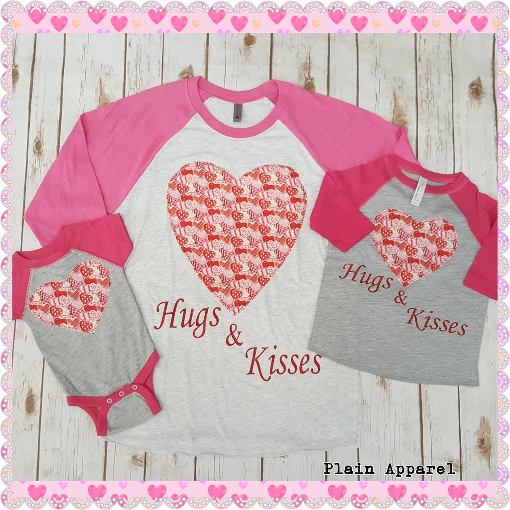 Hugs and Kisses Raglan Onesie-3XL