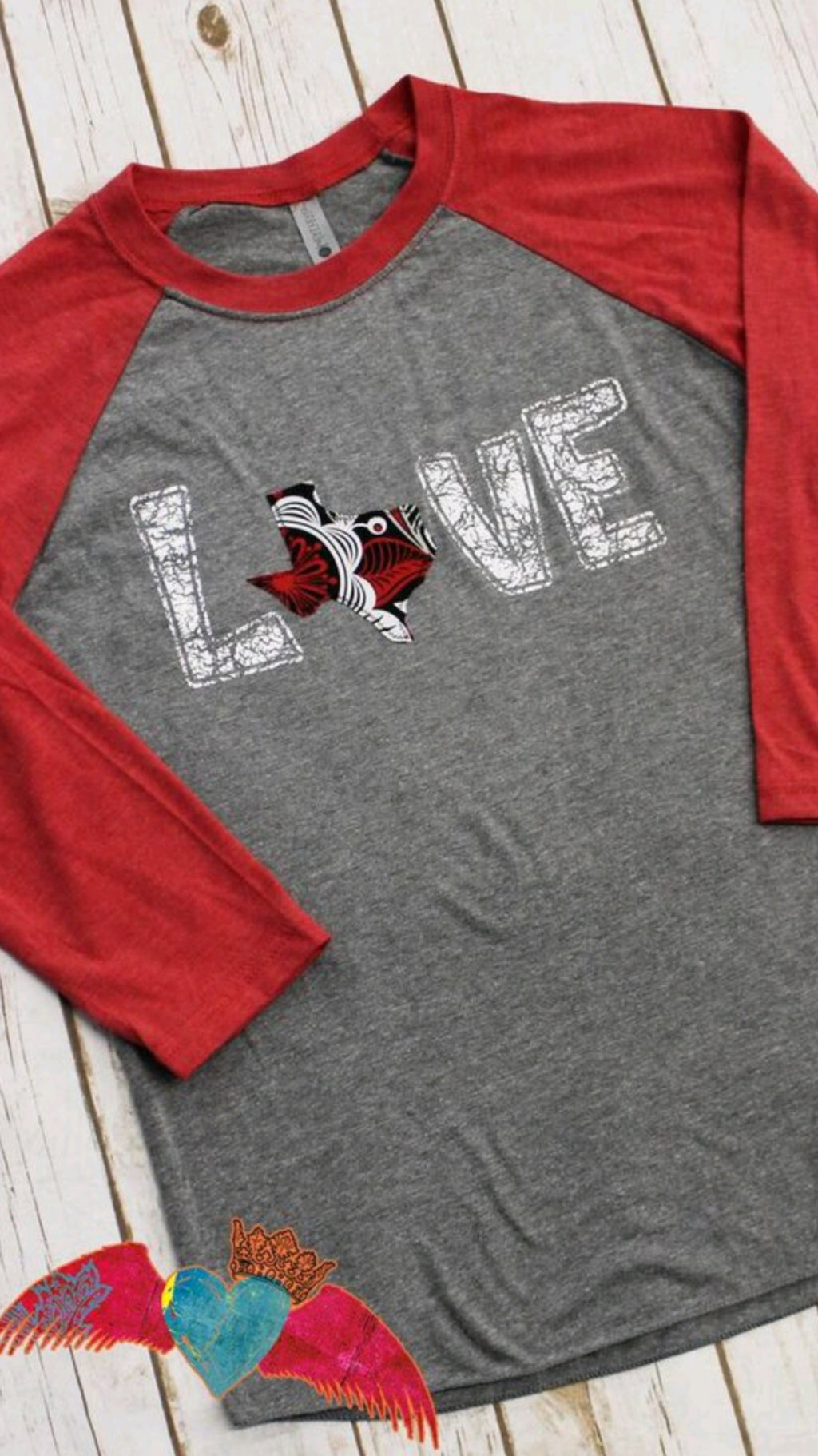Texas LOVE Raglan - Bless UR Heart Boutique