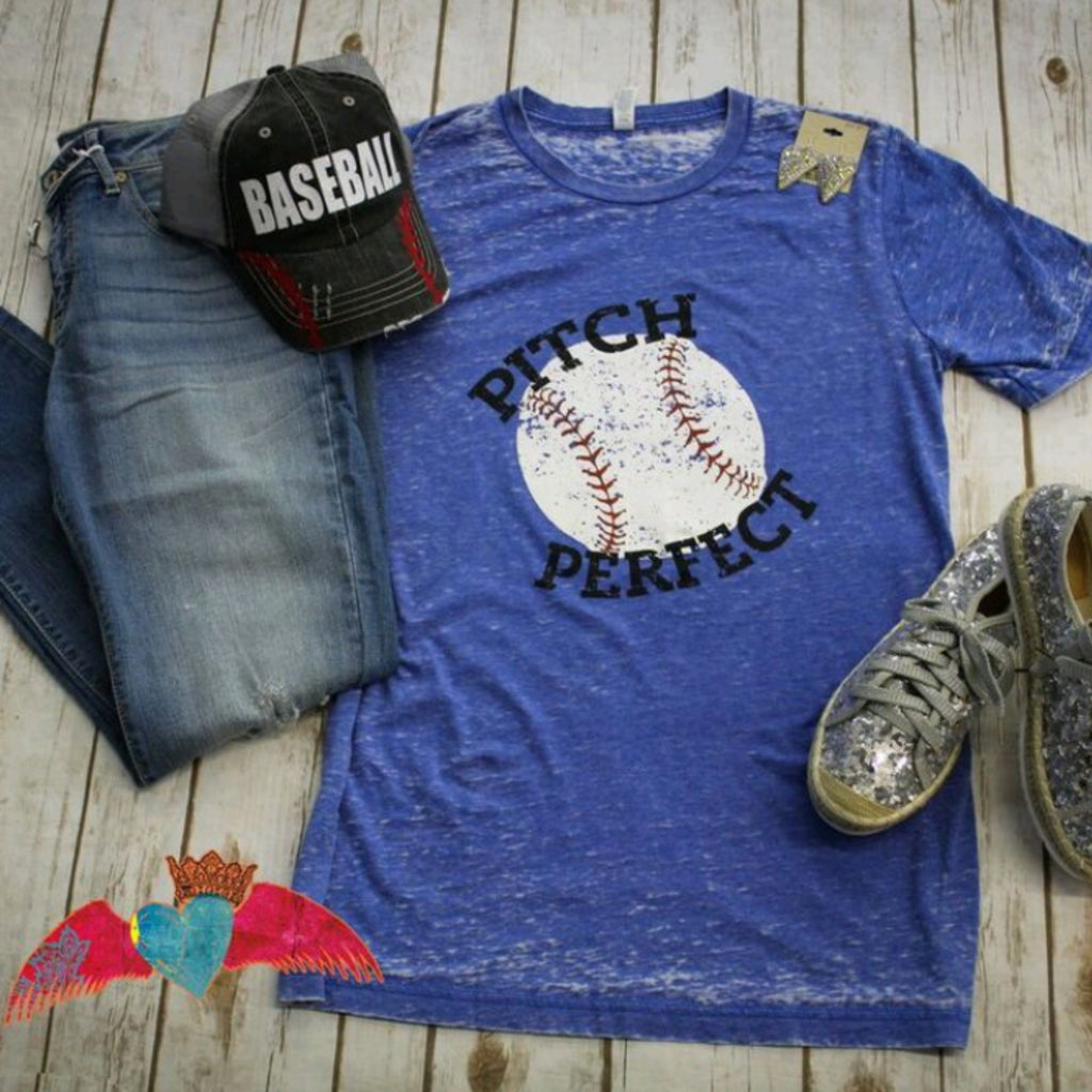 Baseball Pitch Perfect Acid Wash Tee