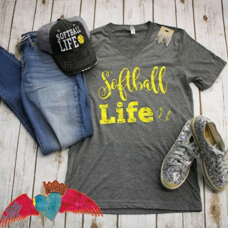 Softball Life V-Neck - Bless UR Heart Boutique
