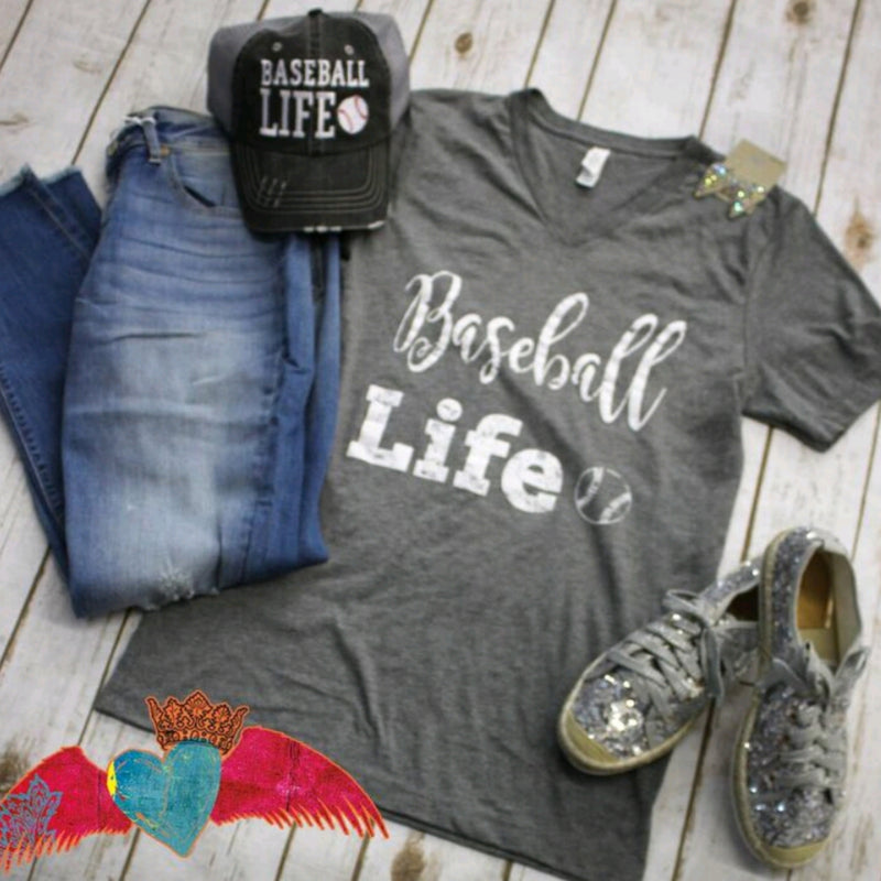 Baseball Life V-Neck - Bless UR Heart Boutique