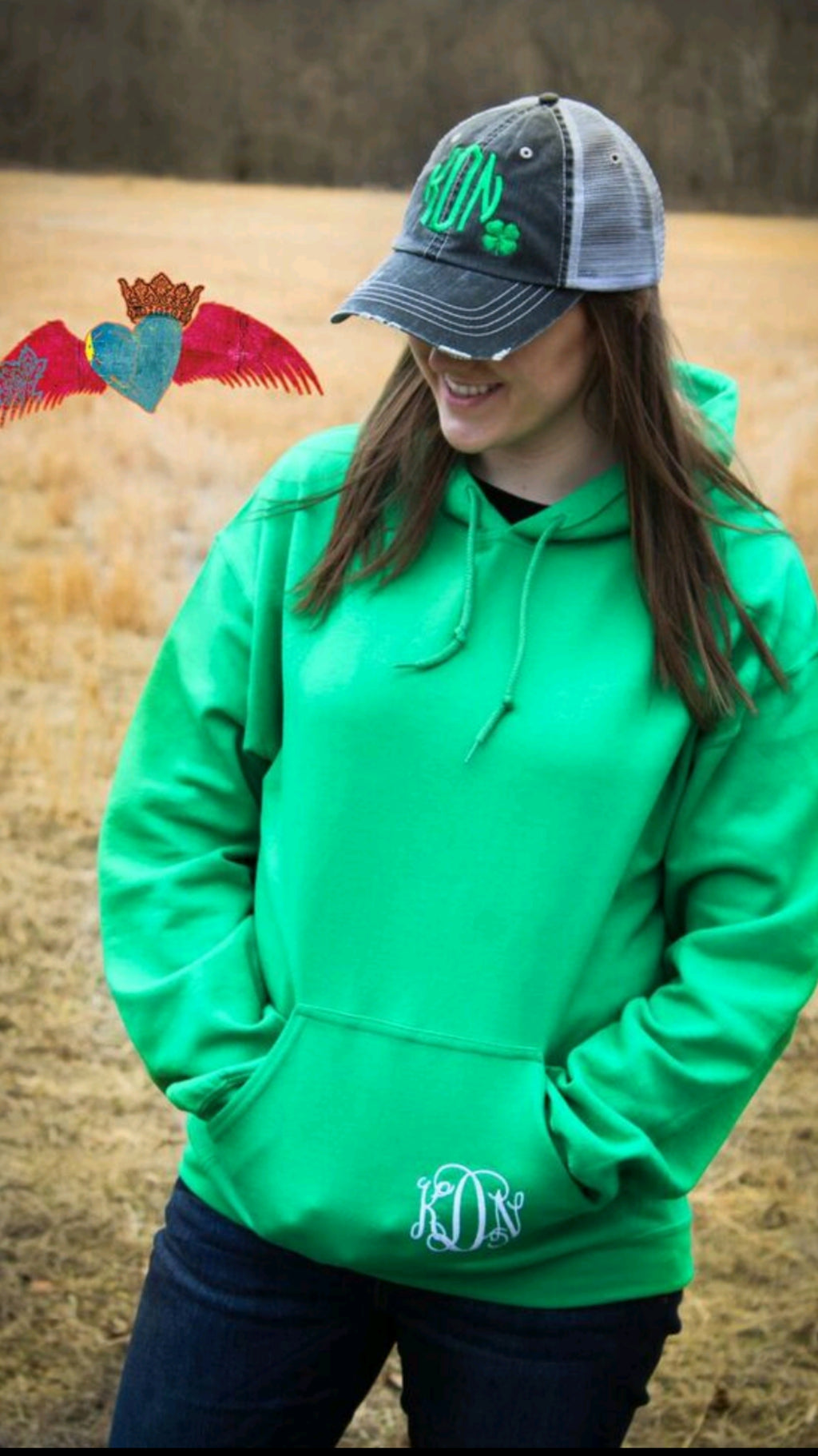Monogram Green Hoodie - Bless UR Heart Boutique