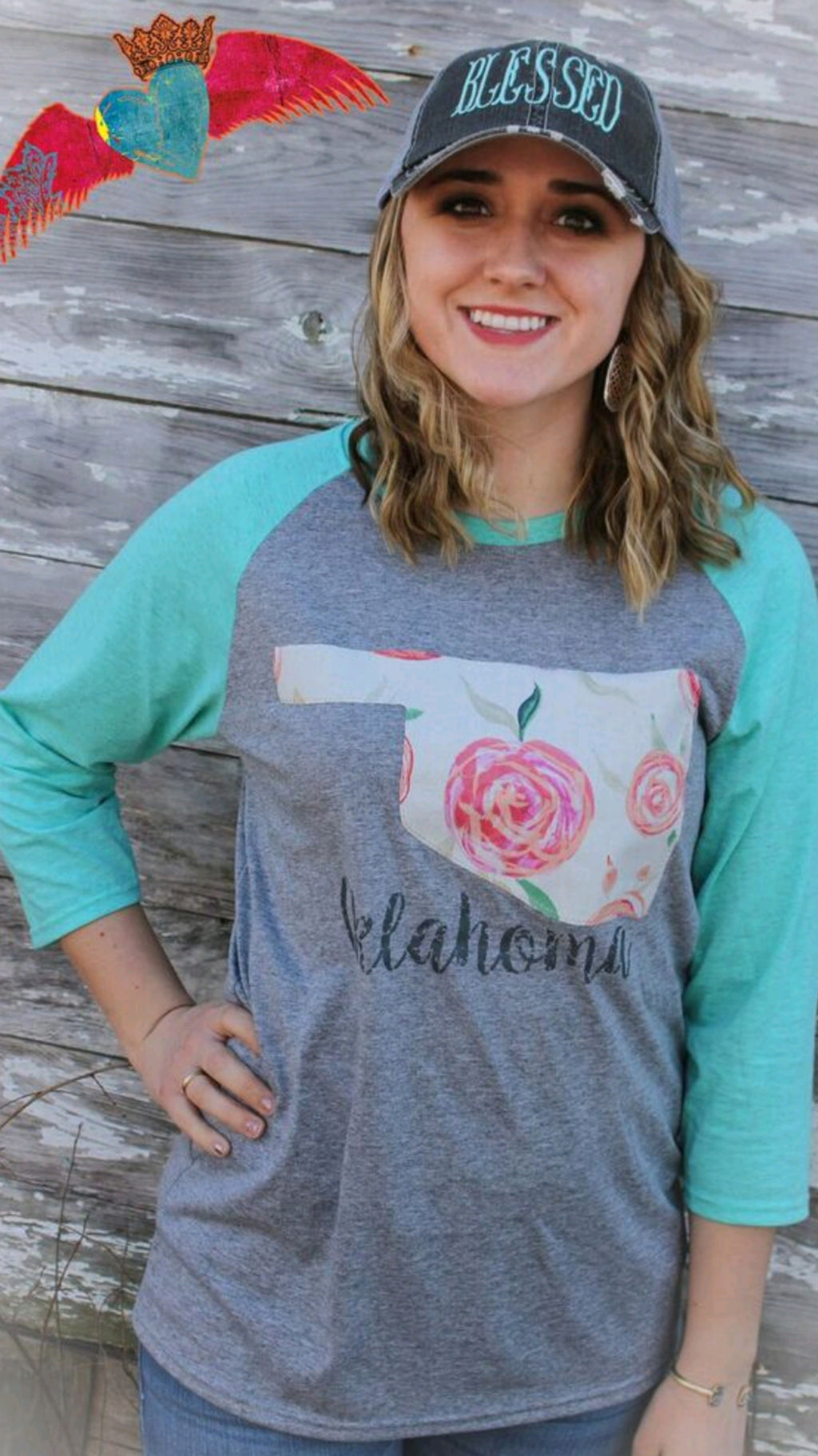 Oklahoma Cabbage Rose Raglan - Bless UR Heart Boutique
