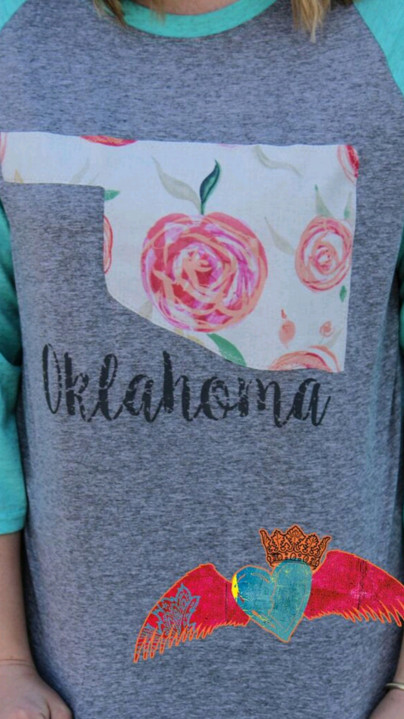 Oklahoma Cabbage Rose Raglan