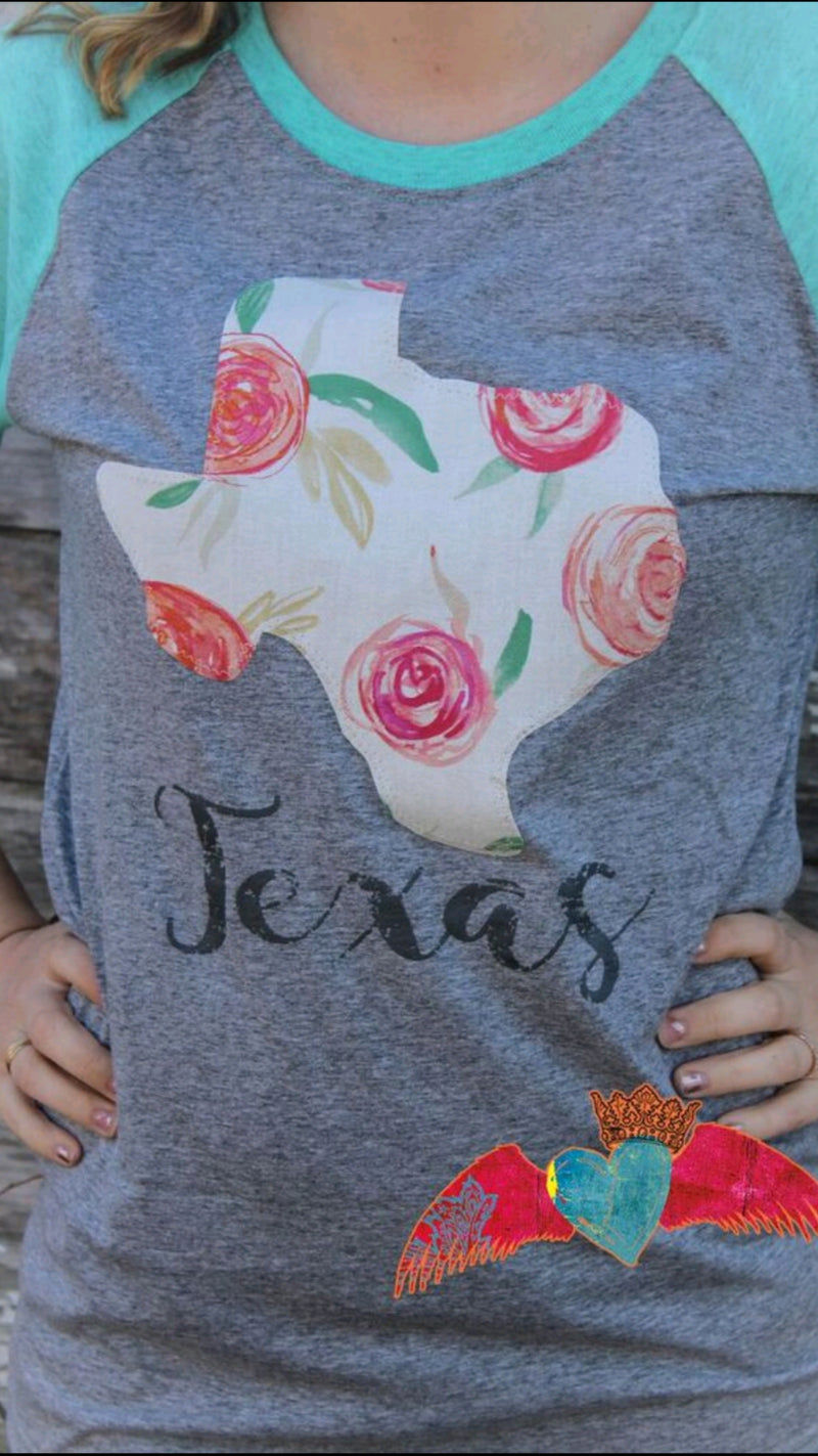 Texas Cabbage Rose Raglan - Bless UR Heart Boutique