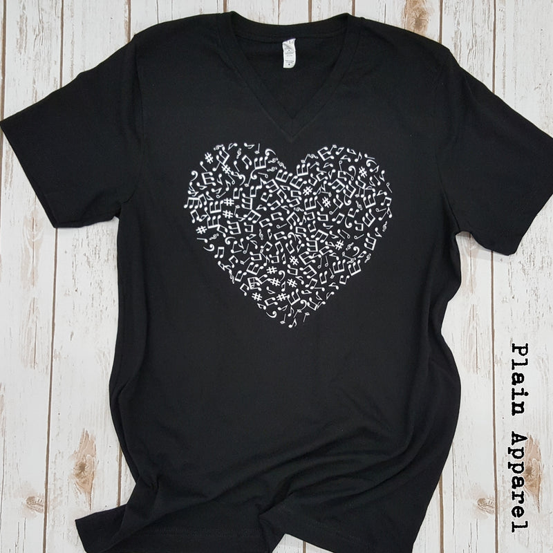 Band Notes Heart V-Neck - Bless UR Heart Boutique