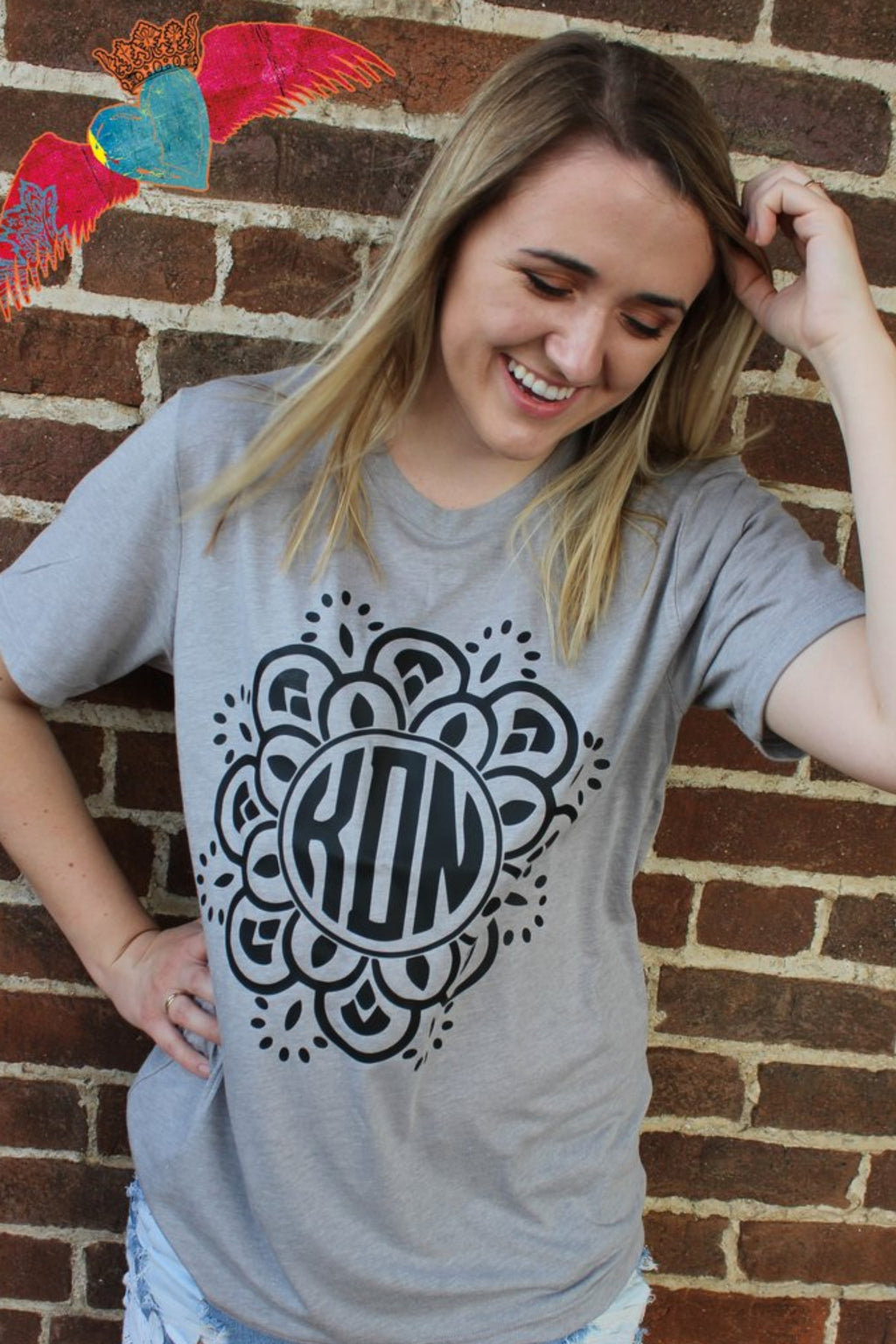 Black Flower Monogram Tee - Bless UR Heart Boutique