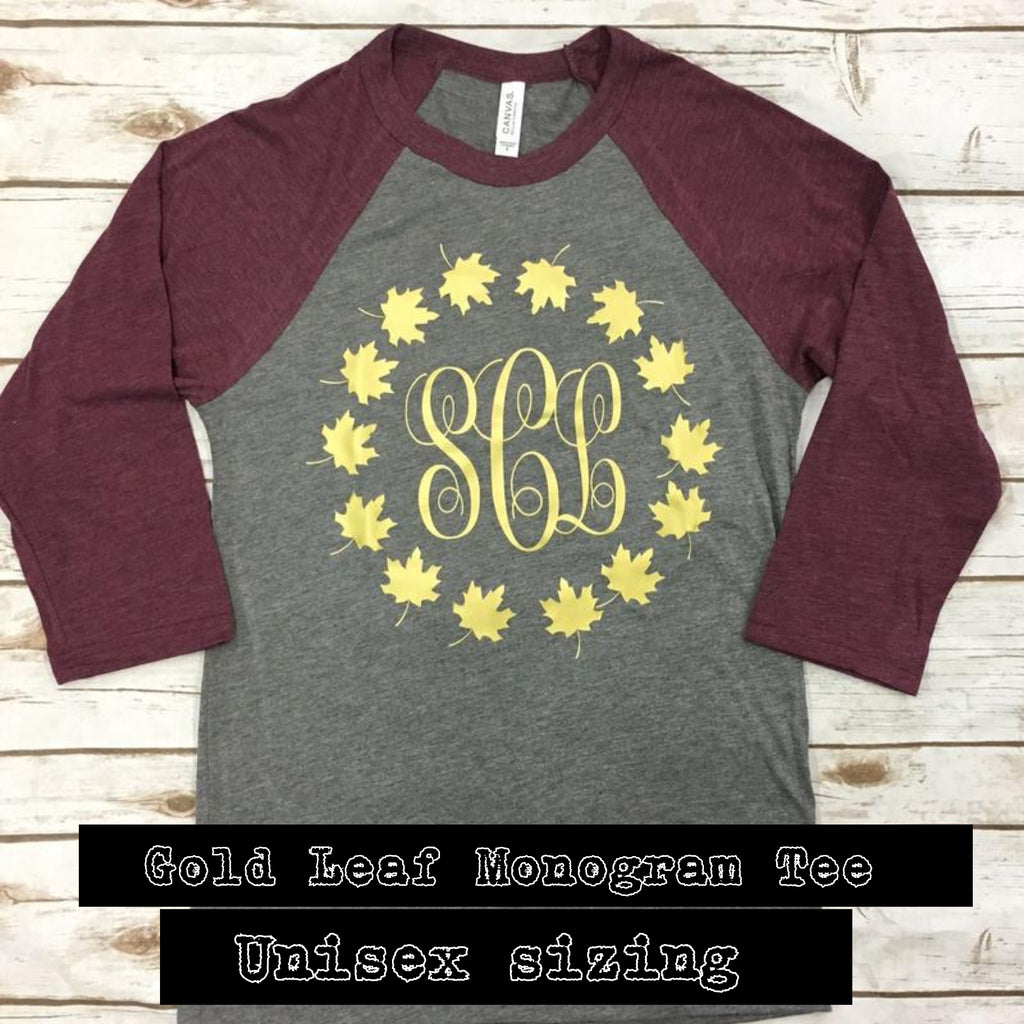 Gold Leaf Monogram Raglan - Bless UR Heart Boutique