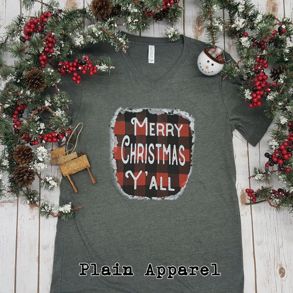 Merry Christmas Y'all V-NECK - Bless UR Heart Boutique