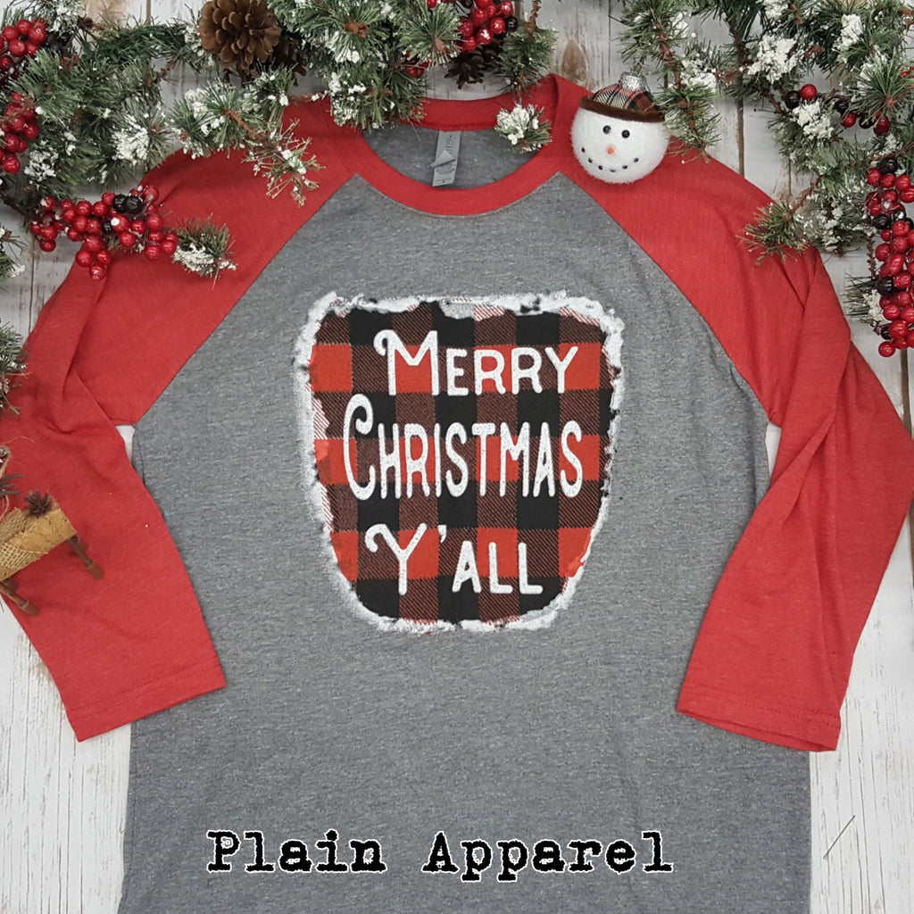 Merry Christmas Y'all Raglan - Bless UR Heart Boutique