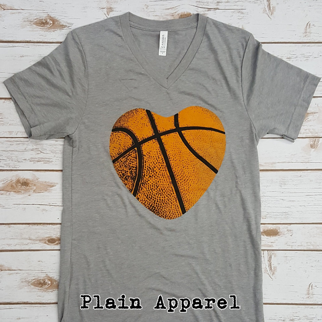 Basketball Heart V-Neck - Bless UR Heart Boutique