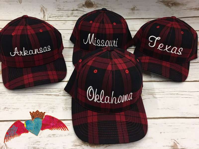 State Name Buffalo Plaid Caps - Bless UR Heart Boutique
