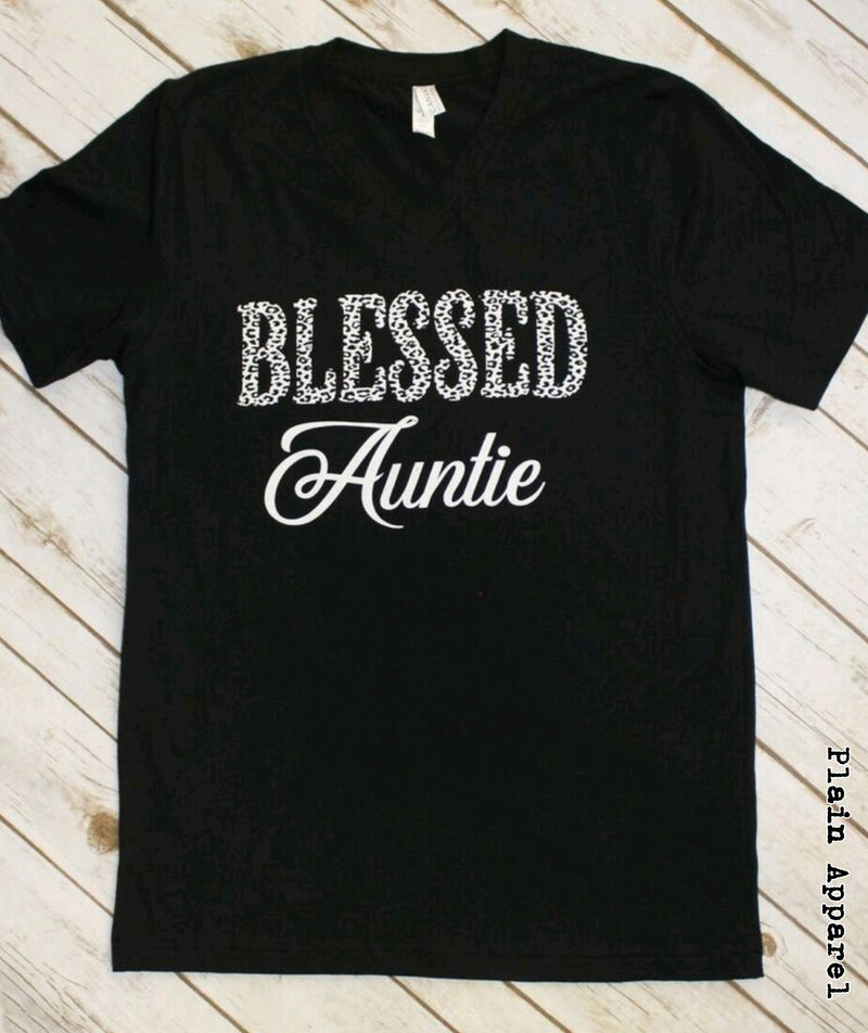 Cheetah Blessed Auntie V-Neck - Bless UR Heart Boutique