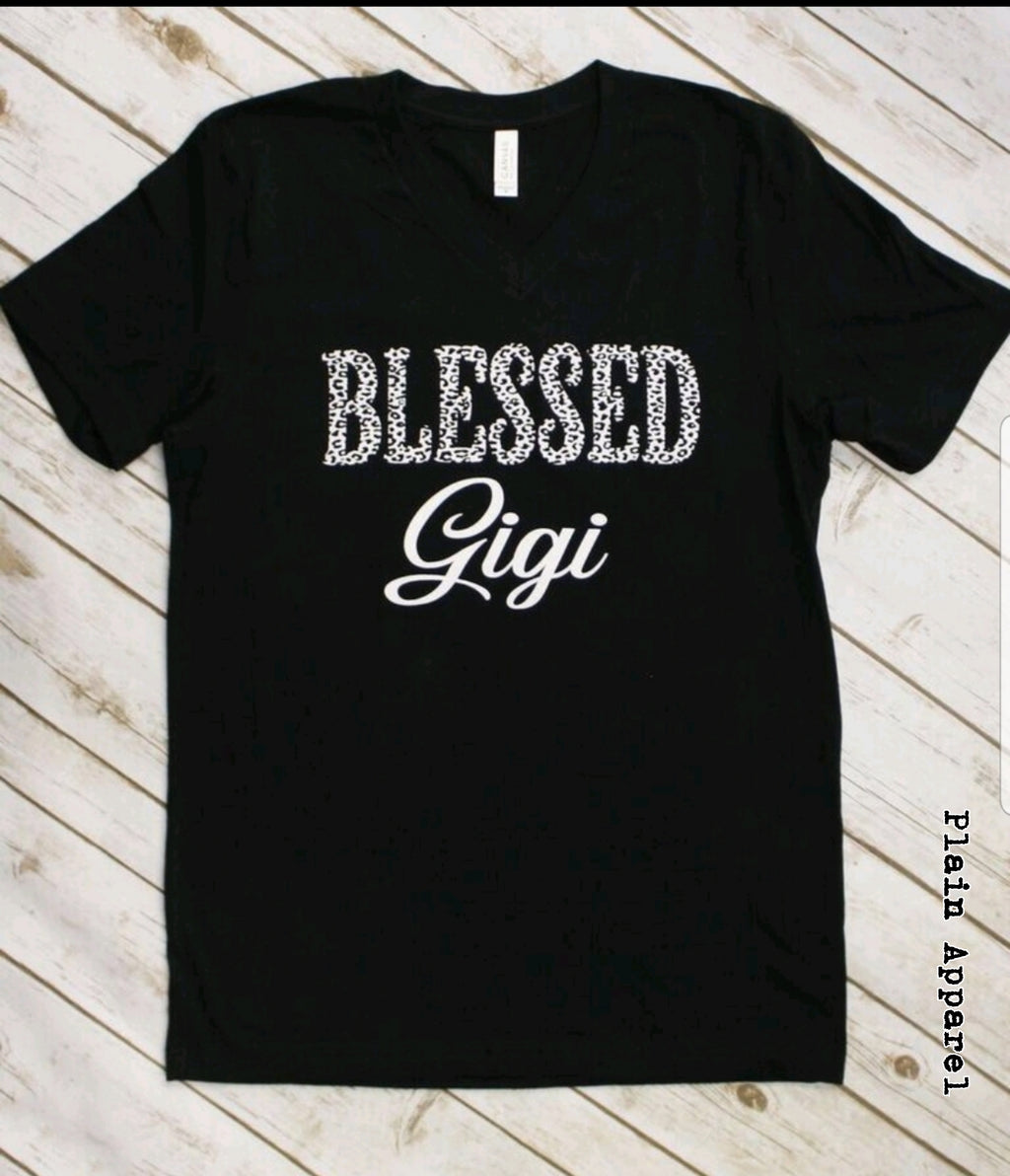 Cheetah Blessed Gigi V-Neck - Bless UR Heart Boutique