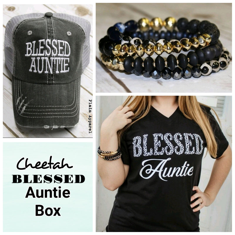 Cheetah Blessed AUNTIE Box - Bless UR Heart Boutique