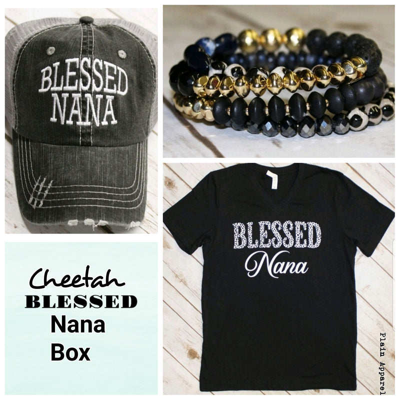 Cheetah Blessed NANA Box - Bless UR Heart Boutique