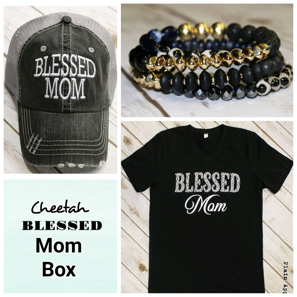 Cheetah Blessed MOM Box - Bless UR Heart Boutique
