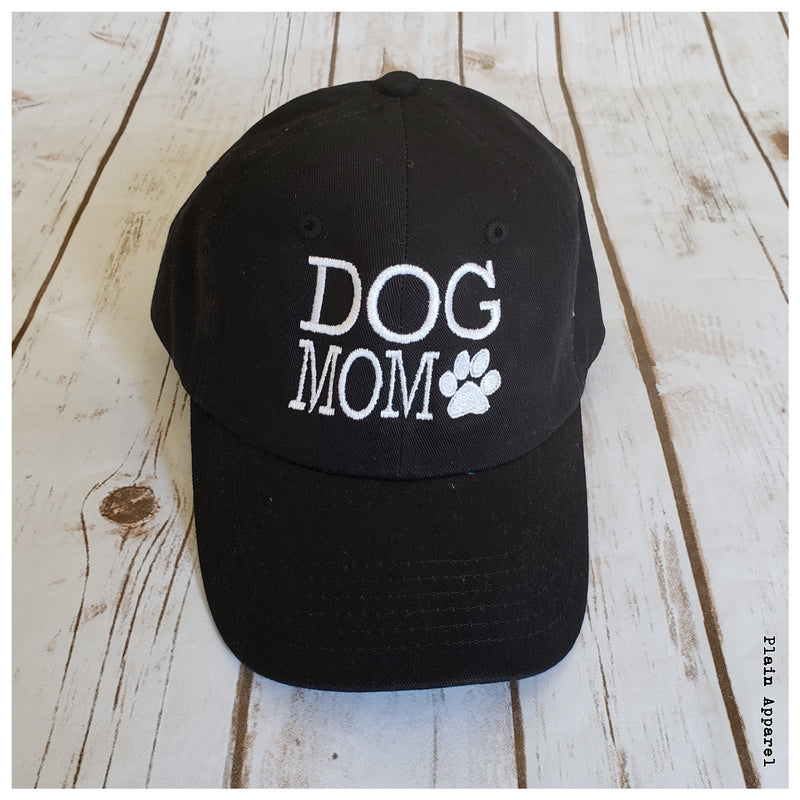 Dog Mom Black Ball Cap