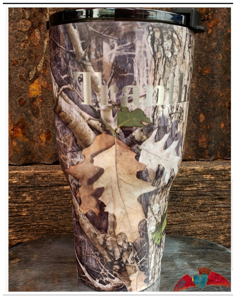 Camo NAME 20oz Tumbler - Bless UR Heart Boutique