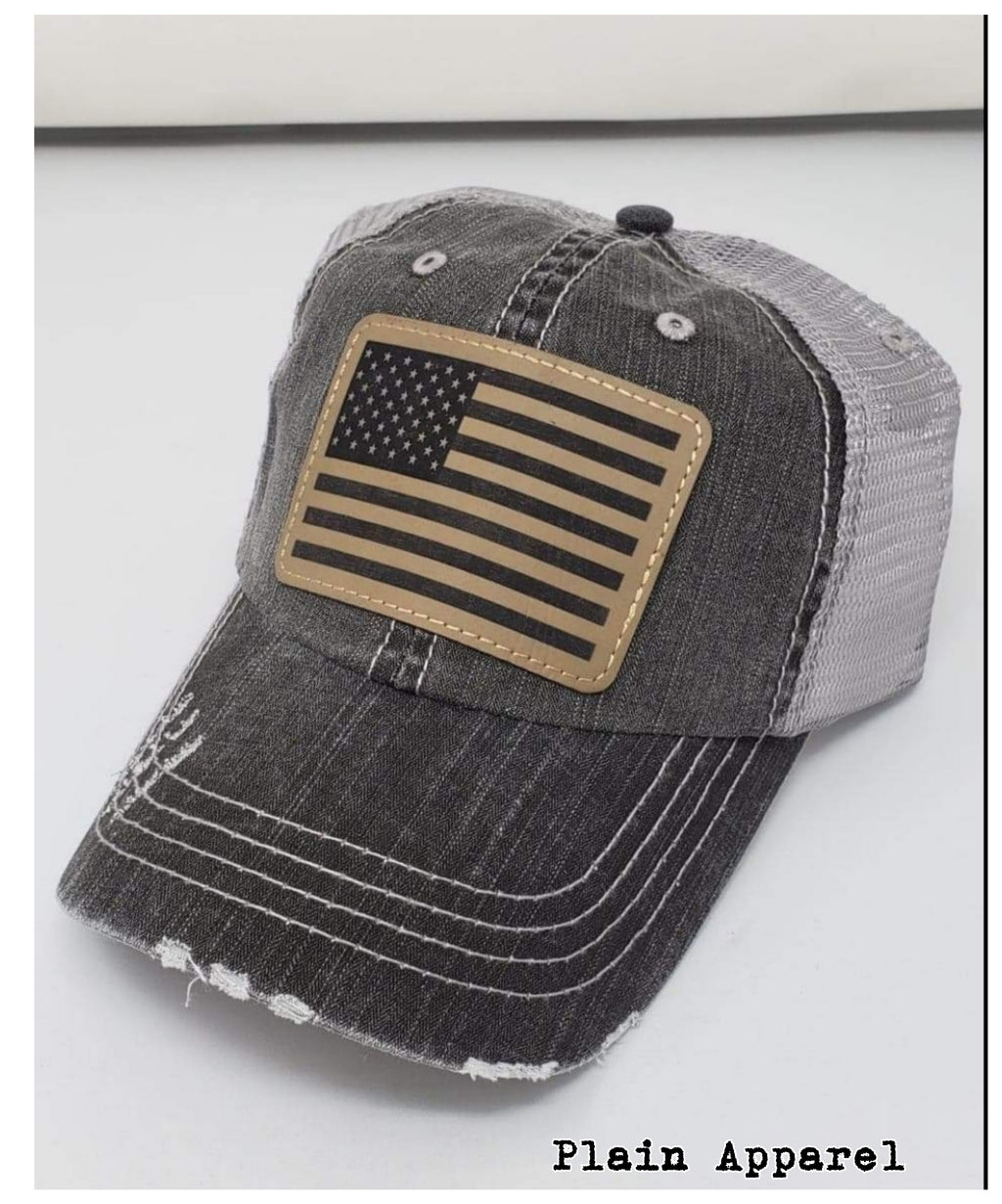 Flag TAN Engraved Patch Cap