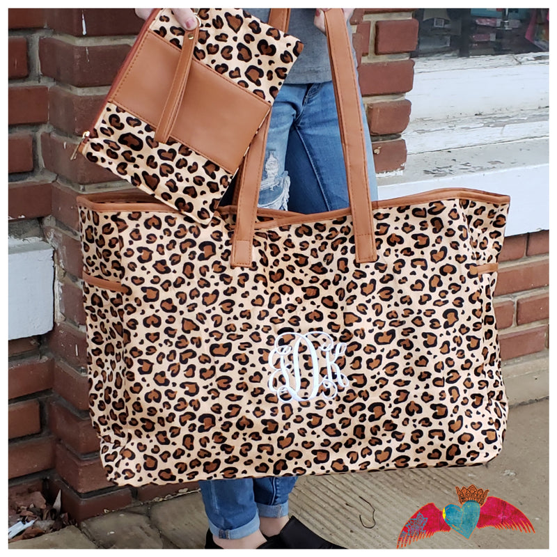 Leopard Bag Set *Monogram Option* - Bless UR Heart Boutique