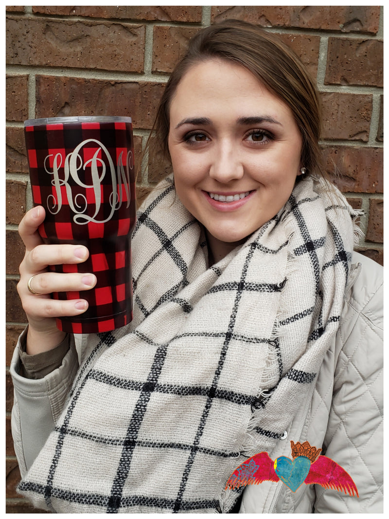 Plaid or Leopard 30oz Tumbler Engraved - Bless UR Heart Boutique