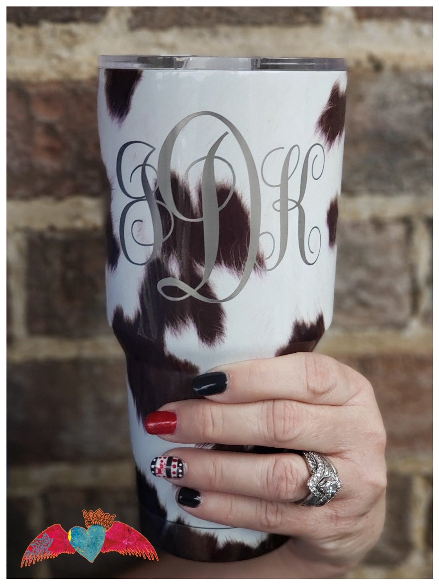 30 oz cow print tumbler with personalization
