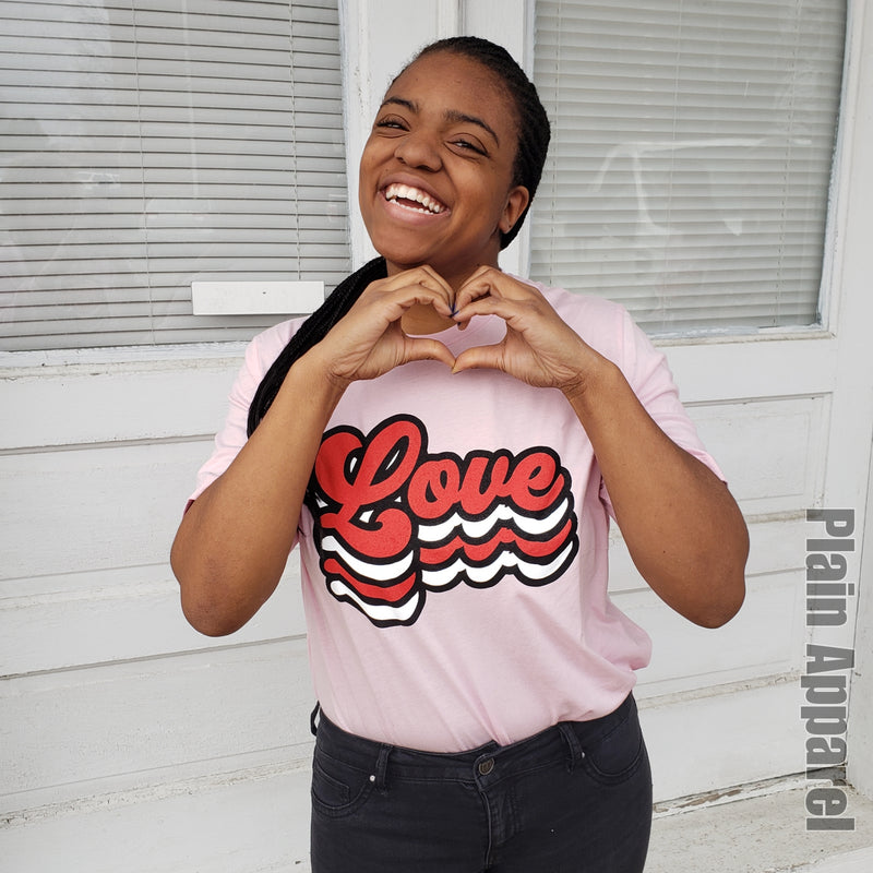 Retro LOVE Pink Crew Tee - Bless UR Heart Boutique